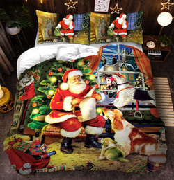 bedding set merry christmas Australia - 3D Merry Christmas Bedding Set Duvet Cover Red Santa Claus Comforter Bed Set Gifts USA Size Queen King
