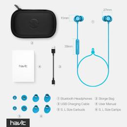 HAVIT Fone De Ouvido Bluetooth Esporte V4.2 IPX5 Sweatproof Tampões de Ouvido Magnéticos Fone De Ouvido Estéreo Sem Fio À Prova D 'Água Com Microfone I39 em Promoção