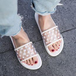 $enCountryForm.capitalKeyWord Australia - wholesale Summer Slippers Shoes Woman 2019 Polka Dots Transparent Peep Toe Flip Flops Clear Women Outdoor Flat Beach