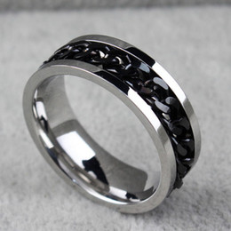 mens gold silver rings Australia - BC Jewelry Fashion Spinner Chain Ring For Men Gold & Black & Silver Stainless Steel Chain Wholesale Mens Jewelry BC-00691a8b#