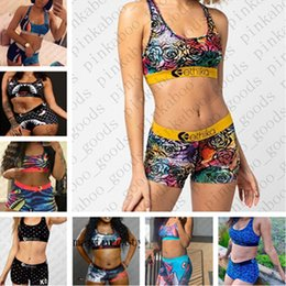 Wholesale 2020 Summer Women Ethika Designer Swimsuit Swimwear Brand 2Piece Bikini Set Vest Tank Top Bra and Shorts Swimming Suit Luxury Shark E42401