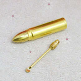 Wax bullets online shopping - New Gold Snuff Bottle Box Bullet Missile Shape Store Storage Spoon Metal Alloy Portable Smoking Pipe Accessories Herb Wax Multiple Uses
