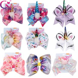 Baby Sequin Hair Clips Wholesale Australia - 8 Inch Jojo Siwa Hair Bows Jojo Bows With Clip For Baby Children Large Sequin Bow Unicorn hair Bows