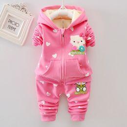 3cdd4e75f Hello Kitty Winter Baby Girls Clothing Sets Warm Velvet Thicken Hooded Jacket  Sweatshirts + Print Pants 2PCS Baby girl