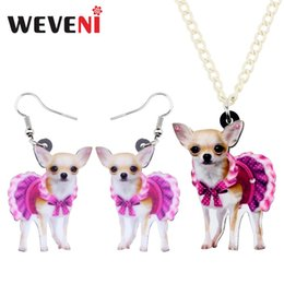 $enCountryForm.capitalKeyWord Australia - WEVENI Acrylic Sweet Pink Dress Chihuahua Dog Necklace Earrings Jewelry Sets Sweet Pet Girl Fashion Charm Gift Party Decoration
