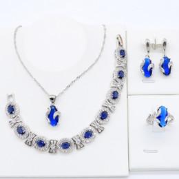 $enCountryForm.capitalKeyWord Australia - Royal Blue Crystal 925 Silver Jewelry Sets for Women Bracelet Necklace Pendant Ring Earrings Engagement Birthday Gift