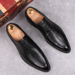 Striped Bottom Dress Australia - Amazing2019 Slim Sharp England Small Leather Shoes Leisure Time Correct Dress Youth Tidal Soft Bottom Increase Male Shoe