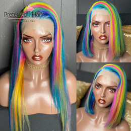 rainbow human hair Canada - Preferred Rainbow Color Straight Lace Front Wig Pre Plucked Side Parting Bob Wig Brazilian Remy Lace Front Human Hair Wigs