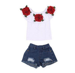 $enCountryForm.capitalKeyWord Australia - Hot Sale Summer Baby Kids Girls Clothes 3D Flower print sleeveless Ruffle round neck pullover T-Shirts Denim Hole Pants 2pc cotton Set
