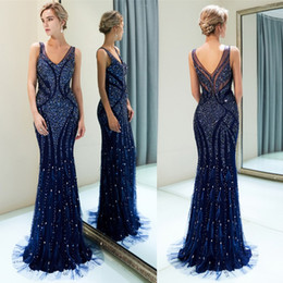 long prom dresses stones UK - Elegant V Neck Mermaid Long Evening Dresses Real Image Major Beaded Stones Feather Floor Length Formal Party Prom Dresses CPS1168