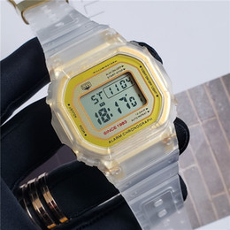 Dial Box Australia - Special 35th Anniversary Watches Square Dial Shock LED Sport Watch Transparent Gold Men's Military Watches With Box Free Shipping