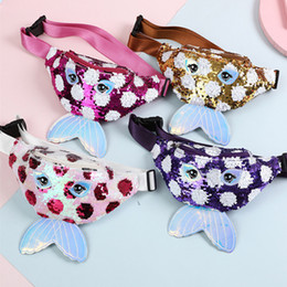 sequin bag wholesalers Canada - 5 color Kid mermaid waist bag Sequin Belt Fanny Pack Cartoon Big Eyes Chest Bags Girl Cosmetic Bags Purse crossbody bag CJJ89