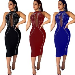 $enCountryForm.capitalKeyWord Australia - Sexy Party Dress for Women Sleeveless Perspective Nightclub Dress Fashion Skinny Backless Hot Drill Tight Dress