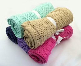 Children Bedding Wholesale Europe Australia - Crochet blanket Newborn Baby Blankets Cellular Blanket Summer Candy Color Casual Sleeping Bed Supplies Hole Wrap MMA1273 100pcs