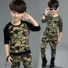 Boy Chinese Suit Australia - Hot Kids Sets Spring and Autumn New Boy Fashion Camouflage Two-piece Large Children's Long-sleeved Cotton Casual Sports Suit