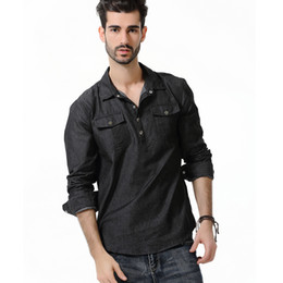 soft denim casual shirts 2019 - Field Shirt 2019 Brand New Long Sleeve Denim Shrits Double Pockets Button Down Shirt Men Pullover Soft Fabric cheap soft