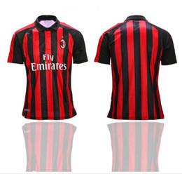fe73a9bff AC Milan Home Away Soccer Jerseys Embroidery LOGO Red Home and White Black  Away Football Uniform High Quality 19 20 Football Shirts