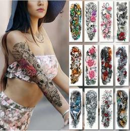 Tatuaggio temporaneo impermeabile Adesivo Teschio Angelo rosa modello di loto Tatuaggio completo di fiori con braccio Body Art Big Large Fake Tattoo in Offerta