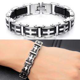 Gel bracelets online shopping - Stainless Steel Silica Gel Watchband Bracelet Punk Cuba Bracelet Wristband Cuff Bangle Charm Bracelets Men Link Chain Cross Jewelry Gifts