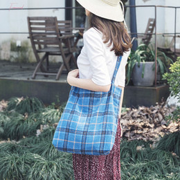 check tote bag Canada - Women Woolen Shoulder Bag Plaid Checked Pattern Fashion Tartan Cloth Hangbag Canvas Tote Cute Reusable Shopping Bags For Girls