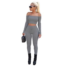 $enCountryForm.capitalKeyWord UK - Fashion 2 Piece Set Women Off Shoulder Crop Top And Long Pants Suit Ladies Sexy Leisure Two Piece Tracksuit New Female