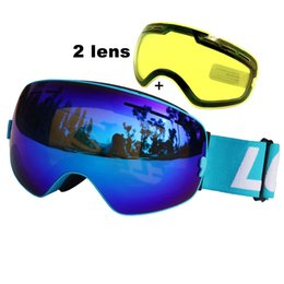 double lens ski goggles Canada - ing Eyewear LOCLE Ski Goggles UV400 Anti-fog Ski Glasses Double Lens Snow Skiing Snowboard Goggles Ski Eyewear With Night Vision Lens
