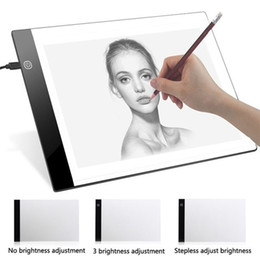 a4 pads UK - Original Digital Tablets A4 LED Graphic Artist Thin Art Stencil Drawing Board Light Box Tracing Table Pad Three-level For Copy