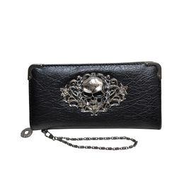 Discount skull handbag purses wallets ladies - good quality Fashion Vintage Skull Ladies Long Handbag Zipper Wallet Skeleton Purse Clutch Card Holder Wallet Carteira F