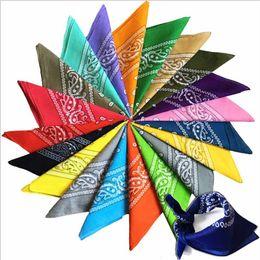 Wholesale Cotton Head Scarves Australia - 55*55cm 15 Colors Scarves Hip Hop Cotton Paisley Bandanas Head Wrap Black Red White Etc Can Drop Ship