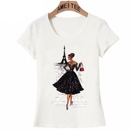 Wholesale vintage novelty printing online – design Women Top Womens Shirts Vintage Vogue Paris Black Applique Printing Girl Summer Fashion Women Novelty Casual Tops Hipster Cool Ladies Tee