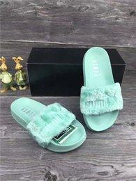 $enCountryForm.capitalKeyWord NZ - Hot Sale-High Quality Leadcat Fenty Rihanna Faux Fur Slippers Women Indoor Sandals Girls Fashion Scuffs Pink Black White Grey Slides star
