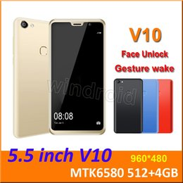 Android Phone Case Unlocked UK - 5.5 inch V10 Quad Core MTK6580 Android 8.1 Smart phone 4GB Dual SIM camera 5MP 480*960 3G WCDMA Unlocked Mobile Gesture wake Free Case 30pcs