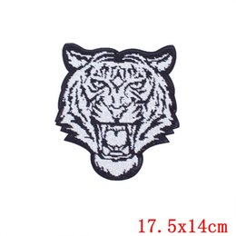 Discount tiger patches wholesale - Prajna Hot Sale Patch Large Sequin Tiger Patch Sequin Patches Iron On Applique For Clothes Stripes Embroidery Biker Badg