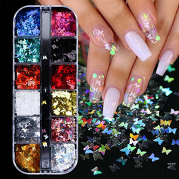 Wholesale 3D Butterfly Slice Nail Sequins Flakes Holographic Iridescent Glitter Nail Art Decoration Colorful Manicure 12 in 1 Set CH1558