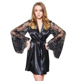 a2f471e6f8b6d À la mode Sexy Mesdames Peignoir Satin Robe De Soie Robe De Soie Dentelle  Pyjamas Longue Chemise De Nuit Dormir Slip Kimono