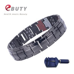 Wholesale EBUTY Sport Black Men Bracelet Titanium Energy FIR IONS Bracelets Bangle Fashion Health Jewelry Gift with Box