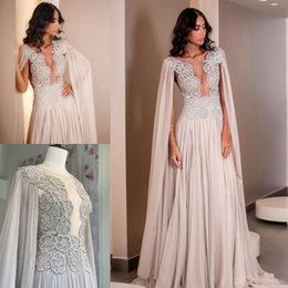 Formal sheer jackets online shopping - Elegant Long Prom Dresses Arabic Appliqued Beads Lace Formal Dress Evening Gowns With Cape Robe De Soiree