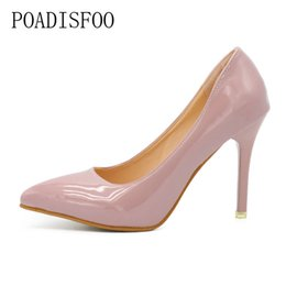 Patent leather Platform sexy shoes online shopping - 2019 Dress New Pointed High Heels Female Winter Fine With Single Shoe Patent Leather Shallow Mouth Sexy Nightclub cm Hee DFGD