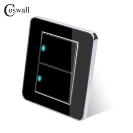 $enCountryForm.capitalKeyWord Australia - Wall Light Switch Brand Coswall 2 Gang 2 Way Random Click Push Button With LED Indicator Acrylic Crystal Panel Black