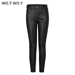$enCountryForm.capitalKeyWord UK - WOTWOY Autumn Winter High Waisted Leather Pants Women Fleece PU Leather Trousers Women Pockets Casual Black Pencil Pants 2018