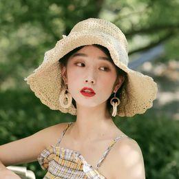 Block Protection Australia - Straw hat and woman summer sweet lace bow sun block beach holiday sun hat big eaves folding beach hats
