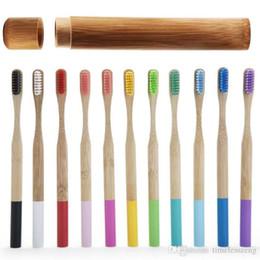 Cepillo de dientes de bambú Conjunto del arco iris Cepillo de dientes de bambú 1pc Tubo Eco Friendly de bambú natural del cepillo de dientes caso del recorrido principal suave del embalaje Cepillo Dientes en venta