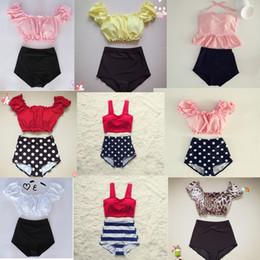 $enCountryForm.capitalKeyWord Australia - Women Ruffle Top Pink Swimwear Teens Swimsuit Bikini Two 2 Piece High Waist Biquini May High-waisted Red Pad Swiming Suit 2019 Y19062901
