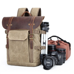 $enCountryForm.capitalKeyWord Australia - Dropship High Quality Waxed Canvas Leather Backpacks Vintage Camera Backpack Retro DSLR Traveling Rucksacks Fashion Daypacks