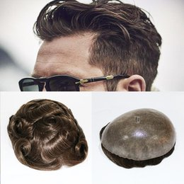 $enCountryForm.capitalKeyWord Australia - Skin Natural Hair Men Toupee Full Pu Toupee Durable Natural Looking Remy Hair Clear Poly Base Human Men Hair Replacements Systems
