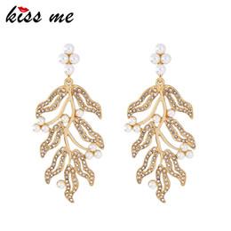 $enCountryForm.capitalKeyWord Australia - Gold Color Plant Simulated Pearls Rhinestone Earrings Women Stylish Big Drop Earrings Brand Jewelry