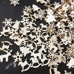 $enCountryForm.capitalKeyWord Australia - New 50pcs lot New Christmas Party Decor Natural Wood Christmas Ornaments Reindeer Tree Snow Flakes Rocking Horse Ornaments