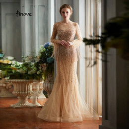 $enCountryForm.capitalKeyWord Australia - Finove Evening Dress 2019 Charming Champagne Mermaid Party Gowns Luxury Beading Scoop Neck Line Feathers Full Sleeves For Woman