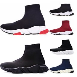low cut mens brown boots 2019 - New arrive Sock Shoes Speed Trainers for Mens Women Boots Triple Black White Red Blue Sock Race Runners Sports Sneakers