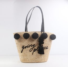 manual bags Australia - The new manual coloured ear hair bulb ball straw bag letters woven bag beach bag